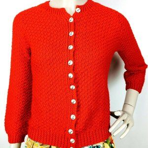 Vintage 60's 70's Red Crochet Chunky Knit Cardigan